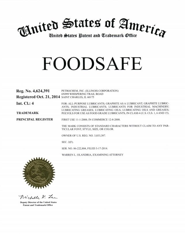 FOODSAFE registered trademark